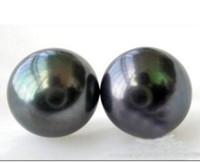 14k pendientes de perlas negras al por mayor-Envío gratis Natural Perfect 11-12mm negro South Sea Pearl 14k / 20 Pendiente de oro amarillo