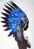 Wholesale indian oil canvas for sale - Group buy American Indian Blue feather Chief Street pop Art Home Decor Handpainted HD Print Oil Painting On Canvas Wall Art Canvas Pictures
