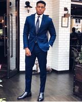 smokings azuis dos homens para casamentos venda por atacado-Midnight Blue Moda Ternos Dos Homens Blazers Ocasião Formal Mens Smoking Ternos Para Casamentos Festas de Noivo de Baile Dos Homens Ternos