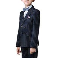 casaco de meninos venda por atacado-Menino Terno Pico Lapela Custom Made Double Breasted Terno Do Miúdo De Casamento / Baile / Jantar / Lazer / show Crianças terno (Jaqueta + Calça + Camisa + Gravata) M1315