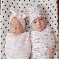 banyo havlu çantası toptan satış-Kap ile 2 renkler bebek uyku tulumu 2 adet set bebek pamuk mektubu baskı Uyku Çuval yenidoğan bebek battaniye kundaklama wrap bat ...