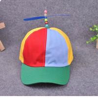 sombreros de bambú snapback al por mayor-Divertido Adulto Niño Propeller Gorras de béisbol Colorido Patchwork Marca Sombrero Hélice Bamboo Dragonfly Boy Girl Snapback Hip Hop Hat