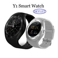 cep telefonuna dayanıklı toptan satış-Y1 SIM kart Yuvası ile Bluetooth Smart Watch Bileklik Bilezik android cep telefonları için IPS Yuvarlak Su Perakende Paketi ile Dayanıklı