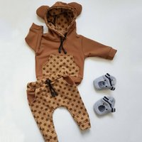 Wholesale sets for newborn for sale - Group buy Pudcoco D Cute Bear Outfits for Newborns Kids Baby Boy Warm Infant Hooded Sweatshirts Sweater Tops Star Pants Clothes Set