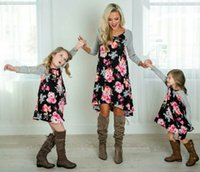 Wholesale mother daughter clothing boutique resale online - Mother and daughter Dress Floral Matching Mom Girls Family Clothes Outfits beach Dress Elegant kids girl boutique women dresses