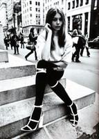 t ремешок заглянуть оптовых-2019 Обувь для подиума Платье знаменитости Высокие сапоги до колен T-Strap Block Высокие каблуки Гладиатор с открытым носком Длинные сандалии Летняя обувь