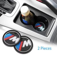 2 Pcs 2.75 inch M Line Car Interior Accessories Anti Slip Cup Mats for BMW 1 3 5 7 Series F30 F35 320li 316i X1 X3 X4 X5 X6