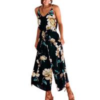 bayan tulum bedeni xl toptan satış-Kadınlar Için gevşek Artı Boyutu XL Tulum Strappy Çiçek Sling Uzun Pantolon Polyester Kolsuz Tulum Tulum Tatil M10 MA14