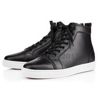 черные шипы оптовых-С коробкой женская Повседневная обувь предпочитает роскошные туфли для вечеринок Шипы Красный Нижний кроссовок плоские мужские высокие верхние кружева - Up свадебная мода черный Chaussures