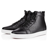 Wholesale summer wedding shoes men for sale - Group buy With Box Womens Casual Shoe Prefer Luxury Party Shoes Spikes Red Bottom Sneaker Flat Mens High Top Lace up Fashion Wedding Black Chaussures