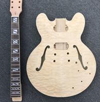 jazz guitarra oco corpo f buracos venda por atacado-Em Estoque Inacabado Jazz Guitarra Elétrica Kit w / F buracos w / Quilted Maple Top, corpo semi oco, guitarra DIY, sem partes de guitarra