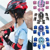 Wholesale kids safety helmets resale online - 7Pcs set Kids Boy Girl Safety Helmet Knee Elbow Pad Sets Children Cycling Skate Bicycle Helmet Protection Safety Guard