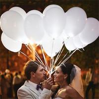 flash levou balões venda por atacado-12 polegadas Branco Led Flash Balões Iluminado LED Balão brilho festa de aniversário suprimentos Decoração de casamento alimentado por Bateria