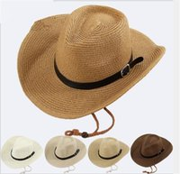 Wholesale mens straw hats for sale - Straw Braid Men Cowboy Hats with  Buckle Western American f56de727646