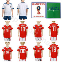 Wholesale russian jersey xxl resale online - 2018 World Cup Cheryshev Youth Russia Jersey Russian Soccer Set Dzagoev Smolov Golovin Gazinskiy Football Shirt Kits Kids Red boys