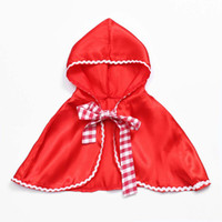 Wholesale red riding hood woman costume online - Little Red Riding Hood Costume Cape Dress up Halloween Capelet Cosplay Cloak for women and girls