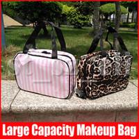 Wholesale travel makeup trunk resale online - Womens Leopard Striped PVC Cosmetic Bag Makeup Organizer Multifunctional handbag Insert Bag for Travel Storage Bag Organizer Styles