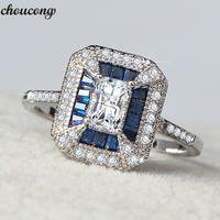 banda de cristal azul venda por atacado-Choucong Princesa anel Azul 5A Zircão Cristal 925 sterling silver Anéis de Casamento Anéis de Banda para as mulheres homens dedo Jóias