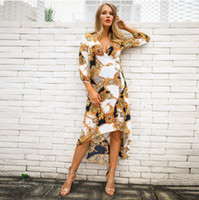 Wholesale black dress resale online - Women Printed Dresses New Arrival Spring Ladies Dress Sexy Print Women Sleeve Fashion Casual Dresses Female Clothing Size S XL