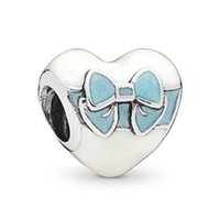 Wholesale heart bow glasses resale online - NEW Sterling Silver White Day Love Charm Mixed Enamel Bow Bead Fit European Lady DIY Women Bracelet Jewelry Gift ENMX