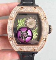 Wholesale rubber tourbillon for sale - Luxury Rose Gold Stainless Diamond Magnolia Dial Tourbillon Fleur For Men Mechanical Watch Black Rubber Date Mens Automatic Wristwatch