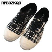 zapatos chinos de tela negra al por mayor-Lace up flats diseñador casual último chino negro ancho ajuste zapatos damas blanco guinga punta redonda mujeres cómodo paño a cuadros