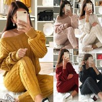 Wholesale full running sets for sale - Group buy 2020 New Women s Tracksuit Casual Knit Piece Sets Autumn Winter Long Sleeve Pullovers Sweater Pants Female Running Jogger Set