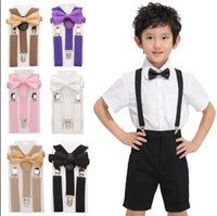 Wholesale trousers years online - kid Suspender Adjustable Elastic Braces Baby Suspenders Set Bow Tie NeckTie Baby Trousers Accessories Suspenders KKA6524