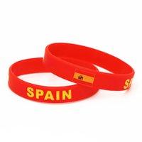 banderas de países calientes al por mayor-1 UNID Venta Caliente Moda España Fútbol Deportes Pulsera de Silicona Rojo Bandera de País Pulseras de Goma Brazaletes Joyas Regalos SH217