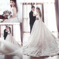 vestidos médios venda por atacado-Luxo Vestidos De Casamento Sheer Com Decote Em V Espaguete Capela Trem Árabe Oriente Médio Vestidos de Noiva Plus Size Personalizado