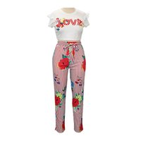 костюм подходящей девушки оптовых-Women Girls 2pcs Letters Printed Short Sleeve Round Collar Slim Fit Tank Tops T-Shirt Printed Lace-up Pencil Pants Suit Set