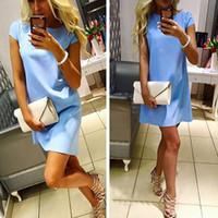 vestido de la línea xxl al por mayor-Playa de verano vestido casual mujer mujer manga corta floja mini short una línea de vestidos de color caramelo s-xxl hm815783