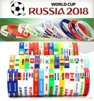 Wholesale 2018 World Cup sports bracelets countries national flags silicone Wristband For Football soccer Fans Souvenir Jewelry Gift