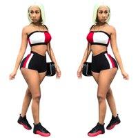 frauen s trägerlose sommerspitzen großhandel-Frauen Luxus Anzüge Trägerlose Tops Hot Shorts 2 stücke Designer Anzüge Sommer Trainingsanzüge Kleidung