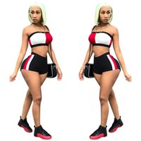 baseball-trainingsanzug großhandel-Frauen Luxus Anzüge Trägerlose Tops Hot Shorts 2 stücke Designer Anzüge Sommer Trainingsanzüge Kleidung