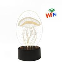 ingrosso lampada wifi-Promozione Lampada da tavolo Light HD 1080P Mini Camera 3D Lampada acrilica Camera WiFi Remote Video Recorder Home Security Mini DV P2P Cam