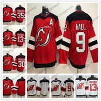 New Jersey Devils  13 Nico Hischier 9 Taylor Hall 30 Martin Brodeur 35  Schneider Blank Red White Men Women Youth Kid 2019 Hockey f20c8d2e2