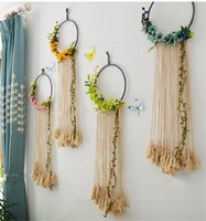Wholesale wall wreath resale online - Simple Flower Wreath Three dimensional Wall Decoration Pendant Creative Wall Decoration Wall Hanging Entrance Hall Decoration Pendant