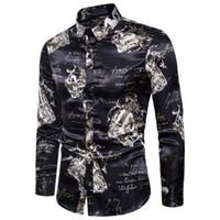 ingrosso camicia di seta nera sottile-Camicia di seta uomo 2018 Moda autunno Slim Fit stampa floreale tessuto liscio uomini Camicie vestito Camisa Masculina nero Plus Size S-xxl T2190601