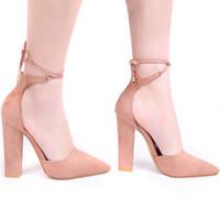 sandálias de ar de primavera venda por atacado-Sandálias das mulheres de Salto Alto Primavera Outono Rebanho Sapatos Femininos Sapatos Femininos Sexy Fino Calcanhares De Ar Calçados Lace Up Bombas Para As Mulheres