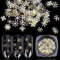 décorations en flocons de neige en or achat en gros de-Christamas Gold Nail Glitter Sequins Mixed SnowFlakes Design Decorations pour Nail Arts Pillette Accessoires