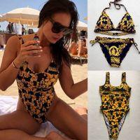 bikini zwei stücke großhandel-Golddruckblumenbadeanzug-reizvoller Bikini-Knall-Druck-Dame Women Two Piece Outfits klassischer Muster-Entwerfer BIKINI-Schwimmen stellte AAA2111 ein