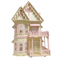 Wholesale villa toys online - iiE CREATE Miniature DollHouse Christma Families Puzzle Furniture Wooden Doll House Diy Kit Villas Toys for Kids Birthday Gifts