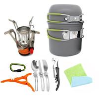 ingrosso pentola in lega-2 Person Outdoors Camp Kitchen Portable Anodic Oxidation Lega di alluminio Camping Pot a piedi Antiusura Solid Backpack Cooker 70adI1