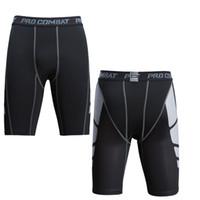 pantalones de baloncesto spandex al por mayor-Pantalones cortos ajustados de entrenamiento deportivo para hombre pantalones de camuflaje cinco puntos, baloncesto de fitness, correr, montar pantalones elásticos de fondo.