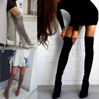 çizmeler boyutu 43 bayan toptan satış-Boyutu 34-43 2018 Yeni Ayakkabı Kadın Çizmeler Siyah Diz Çizmeler Üzerinde Seksi Kadın Sonbahar Kış lady Uyluk Yüksek Diz Yüksek