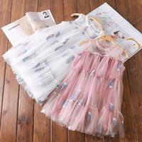 neue mädchen puppen großhandel-2019 Sommer neue große Kinderknospe Siebdruck koreanische Version der niedlichen hohen Taille Puppe Ärmel Mädchen Prinzessin Kleid