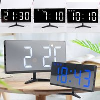 Wholesale external electronics resale online - Creative LED Digital Borderless Multi function Electronic Clock Mirror Clock Can Be Connected To External Power Supply