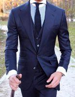 meilleurs vêtements achat en gros de-Tuxedos Groom Blue Design classique Design Notch revers deux boutons garçons d'honneur hommes robe de mariée Business meilleur costumes pour homme (veste + pantalon + gilet + cravate)