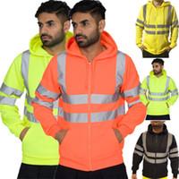casaco de roupa de segurança venda por atacado-Homens com capuz Jacket Brasão Jumper Zipper de lã com capuz reflexivos fluorescentes listra de segurança Roupa de trabalho Esporte Segurança Stripes Hoodie